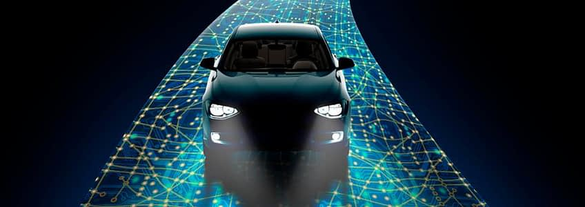 A self-driving car on a road of data points